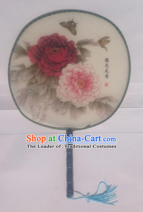 Traditional Chinese Crafts Ancient Palace Lady Dance Round Silk Fan, China Hand Painting Peony Butterfly Imperial Concubine Hanfu Circular Fan for Women