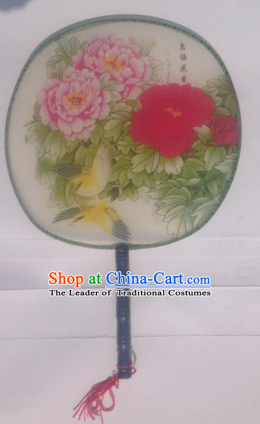 Traditional Chinese Crafts Ancient Palace Lady Dance Round Silk Fan, China Hand Painting Peony Imperial Concubine Hanfu Circular Fan for Women
