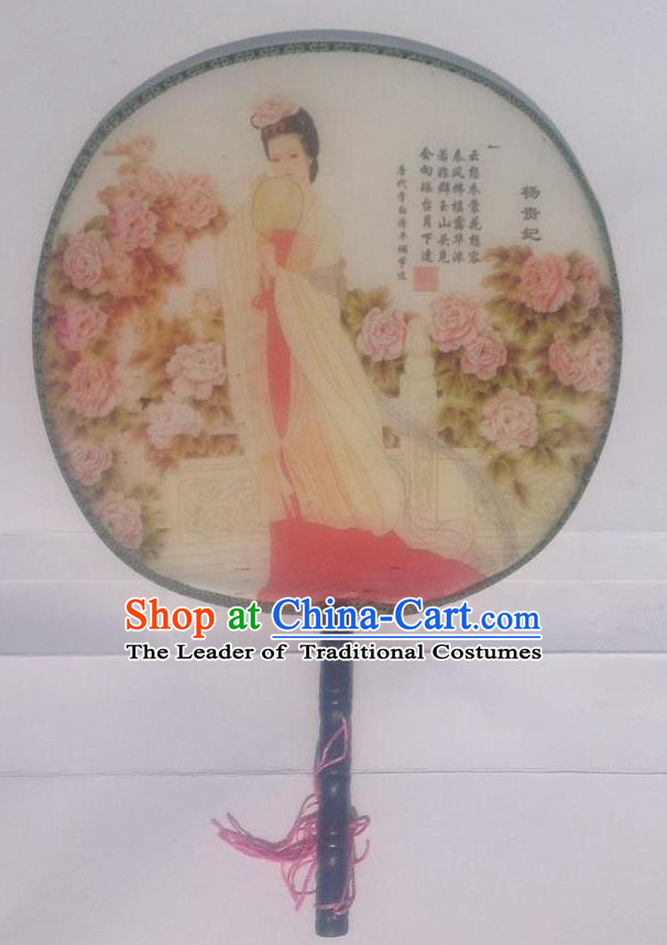 Traditional Chinese Crafts Ancient Palace Lady Dance Round Silk Fan, China Hand Painting Beauty Lady Yang Imperial Concubine Hanfu Circular Fan for Women