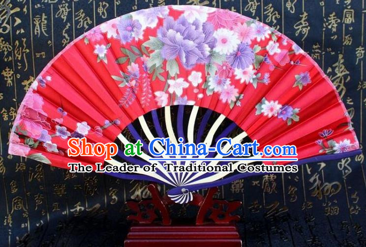 Traditional Chinese Crafts Peking Opera Folding Fan China Sensu Printing Flowers Japan Red Silk Fan for Women
