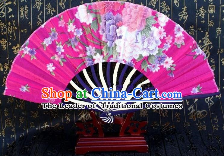 Traditional Chinese Crafts Peking Opera Folding Fan China Sensu Printing Flowers Japan Rosy Silk Fan for Women