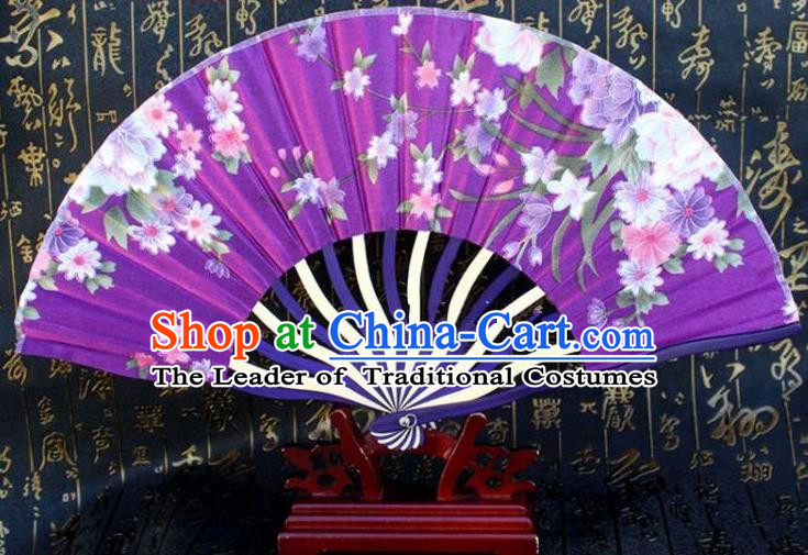 Traditional Chinese Crafts Peking Opera Folding Fan China Sensu Printing Flowers Japan Purple Silk Fan for Women