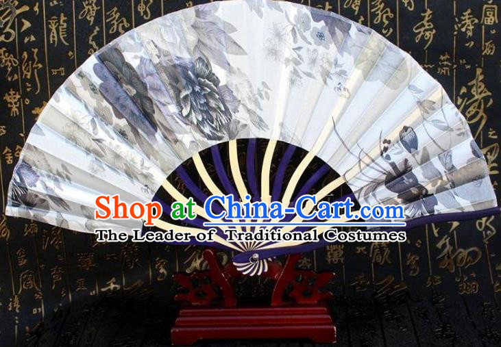 Traditional Chinese Crafts Peking Opera Folding Fan China Sensu Ink Painting Japan White Silk Fan for Women