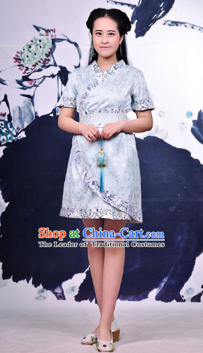 Traditional Ancient Chinese Young Women Cheongsam Blue Dress, Republic of China Tangsuit Brocade Cheongsam for Women