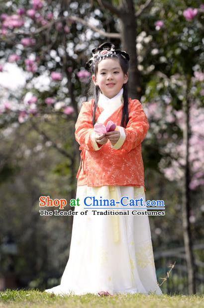 Traditional Ancient Chinese Costume Tang Dynasty Princess Embroidery Slip Skirt, Elegant Hanfu Clothing Chinese Little Girls Costume for Kids
