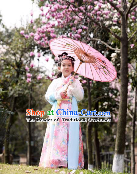 Traditional Ancient Chinese Costume Han Dynasty Princess Dress, Elegant Hanfu Clothing Chinese Little Girls Costume for Kids