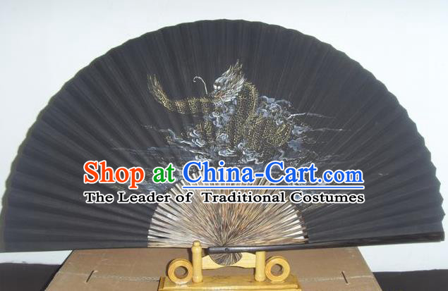 Traditional Chinese Crafts Peking Opera Folding Fan China Sensu Hand Painting Chinese Zodiac Dragon Silk Fan for Men