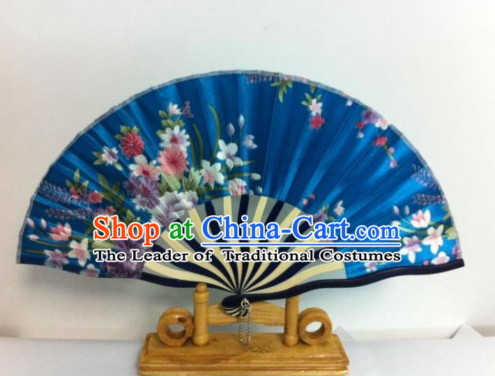 Traditional Chinese Crafts Peking Opera Folding Fan China Sensu Hand Painting Flowers Chinese Blue Silk Dance Fan for Women
