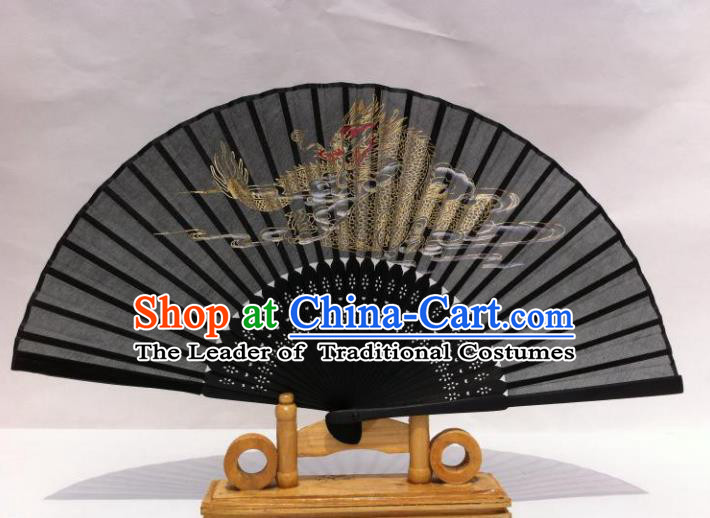Traditional Chinese Crafts Peking Opera Folding Fan China Sensu Hand Painting Dragon Chinese Silk Dance Fan for Women