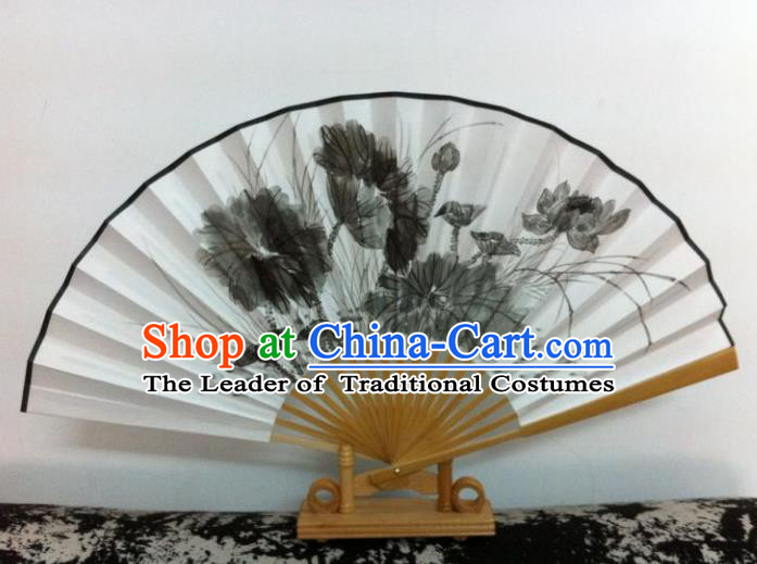 Traditional Chinese Crafts Peking Opera Folding Fan China Sensu Hand Ink Painting Lotus Chinese Xuan Paper Dance Fan for Women