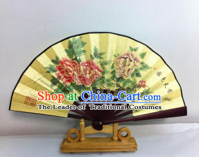 Traditional Chinese Crafts Peking Opera Folding Fan China Sensu Hand Painting Peony Chinese Silk Dance Fan for Women