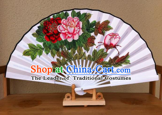 Traditional Chinese Crafts Peking Opera Folding Fan China Sensu Hand Painting Peony Chinese Xuan Paper Fan for Women