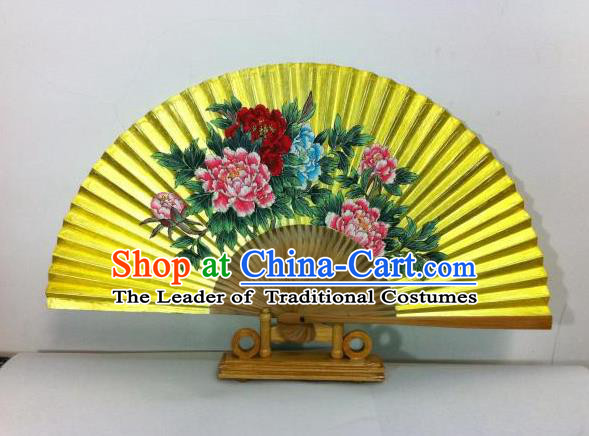 Traditional Chinese Crafts Peking Opera Folding Fan China Sensu Hand Painting Peony Chinese Xuan Paper Golden Paint Fan for Women