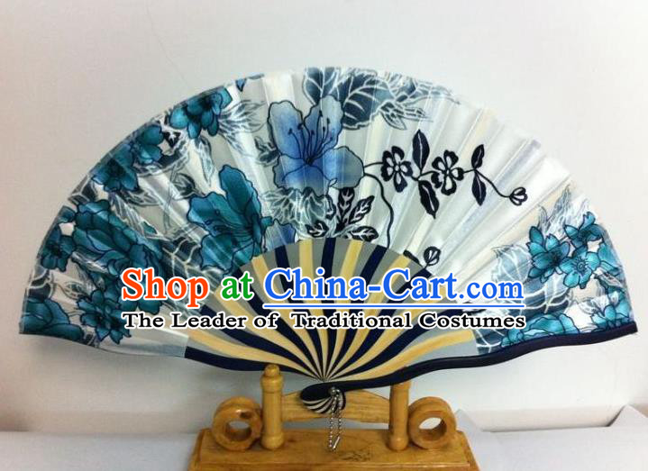 Traditional Chinese Crafts Peking Opera Folding Fan China Sensu Hand Painting Blue Flowers Chinese Silk Dance Fan for Women
