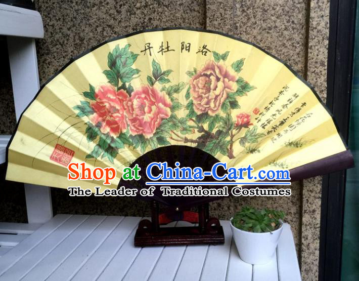 Traditional Chinese Crafts Peking Opera Folding Fan China Sensu Hand Painting Luoyang Peony Chinese Silk Fan for Women
