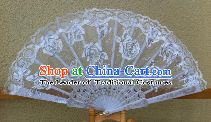 Traditional Chinese Crafts Peking Opera Folding Fan China Sensu Handmade Rose Chinese Dance White Lace Fan for Women