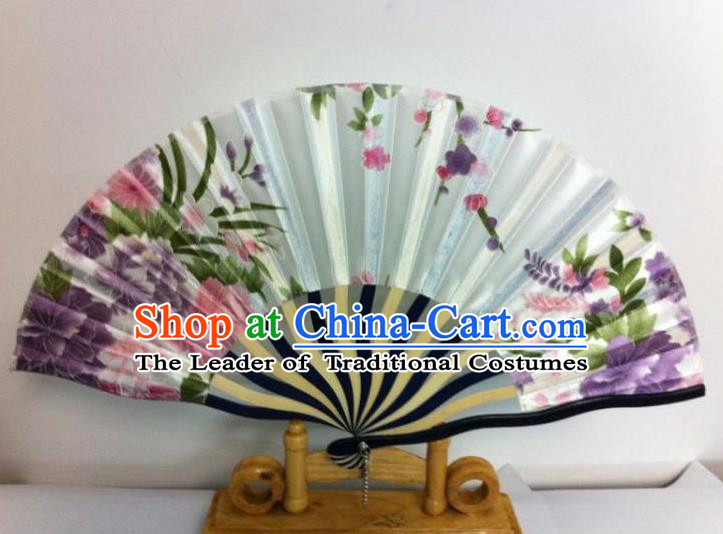 Traditional Chinese Crafts Peking Opera Folding Fan China Sensu Hand Painting Flowers Chinese White Silk Dance Fan for Women