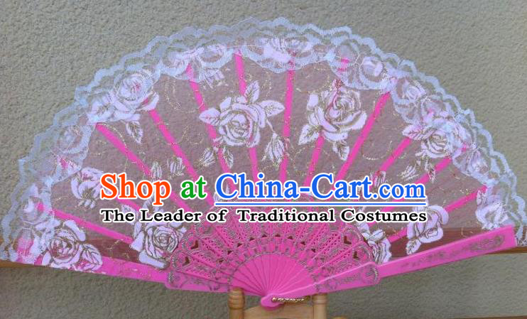 Traditional Chinese Crafts Peking Opera Folding Fan China Sensu Handmade Rose Chinese Dance Pink Lace Fan for Women
