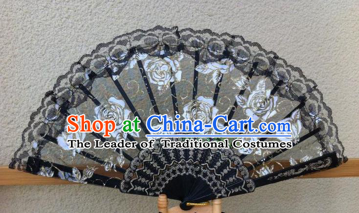 Traditional Chinese Crafts Peking Opera Folding Fan China Sensu Handmade Rose Chinese Dance Black Lace Fan for Women