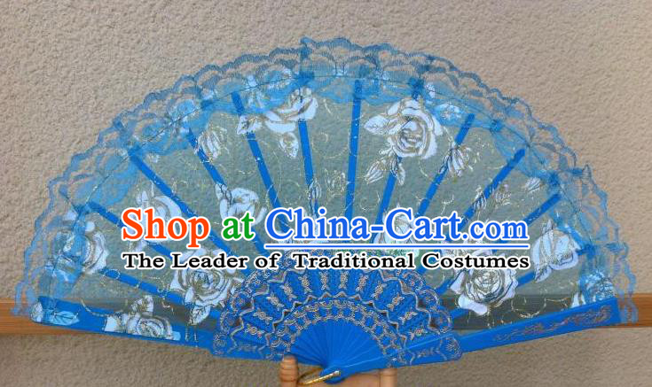 Traditional Chinese Crafts Peking Opera Folding Fan China Sensu Handmade Rose Chinese Dance Blue Lace Fan for Women