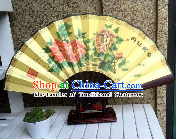 Traditional Chinese Crafts Peking Opera Folding Fan China Sensu Handmade Chinese Painting Peony Xuan Paper Fan for Men