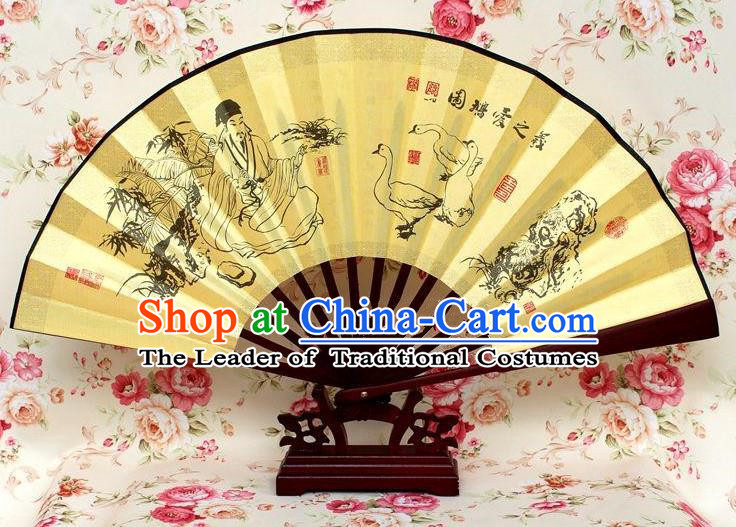 Traditional Chinese Crafts Peking Opera Folding Fan China Sensu Handmade Chinese Ink Painting Goose Silk Fan for Men