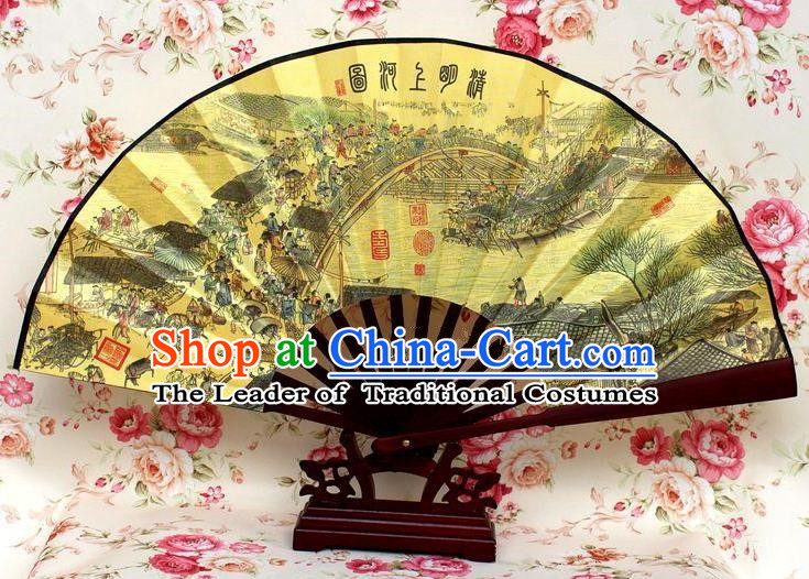 Traditional Chinese Crafts Peking Opera Folding Fan China Sensu Handmade Chinese Ink Painting Riverside Scene at Qingming Festival Silk Fan for Men