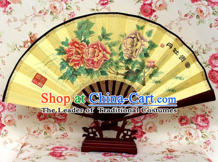 Traditional Chinese Crafts Peking Opera Folding Fan China Sensu Handmade Chinese Ink Painting Rich Peony Silk Fan for Men