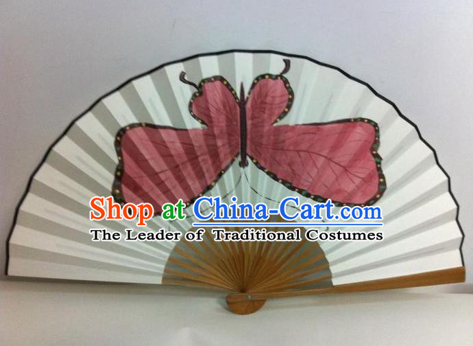 Traditional Chinese Crafts Peking Opera Folding Fan China Sensu Handmade Chinese Painting Red Butterfly Xuan Paper Fan for Men