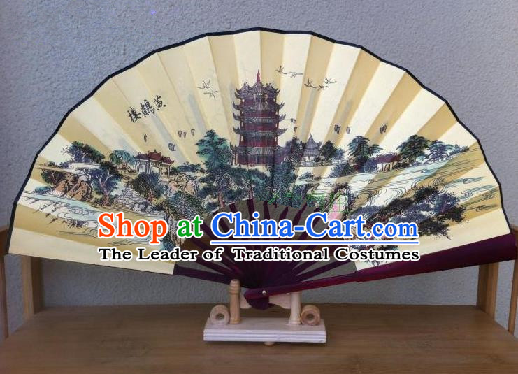 Traditional Chinese Crafts Peking Opera Folding Fan China Sensu Handmade Chinese Painting Yellow Crane Tower Silk Fan for Men