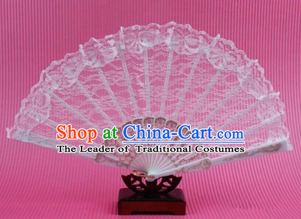 Traditional Chinese Crafts Peking Opera Folding Fan China Sensu Handmade Chinese Dance White Lace Fan for Women