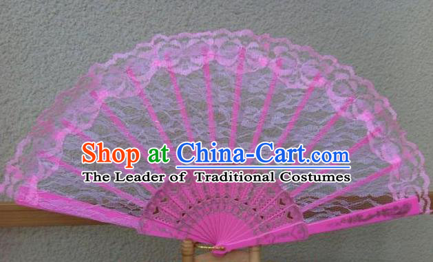 Traditional Chinese Crafts Peking Opera Folding Fan China Sensu Handmade Chinese Dance Pink Lace Fan for Women
