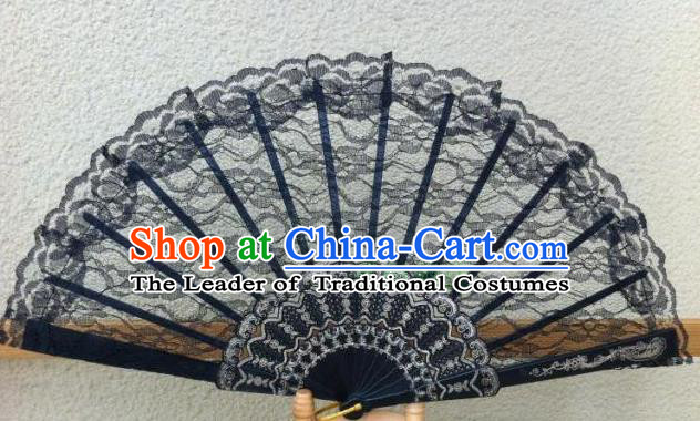 Traditional Chinese Crafts Peking Opera Folding Fan China Sensu Handmade Chinese Dance Black Lace Fan for Women
