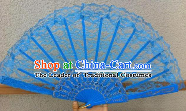 Traditional Chinese Crafts Peking Opera Folding Fan China Sensu Handmade Chinese Dance Blue Lace Fan for Women