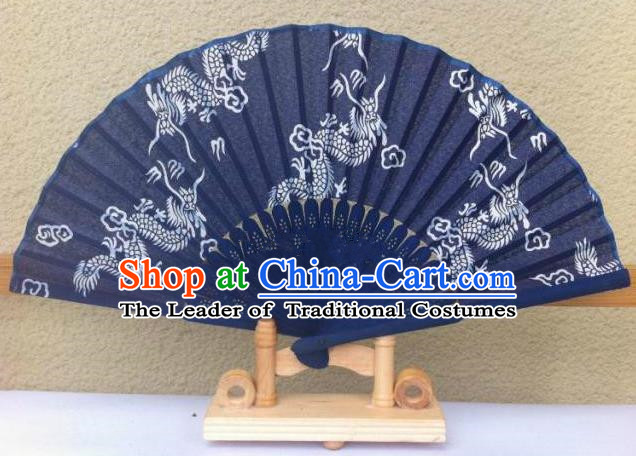 Traditional Chinese Crafts Peking Opera Folding Fan China Sensu Handmade Chinese Painting Dragons Navy Fan for Women