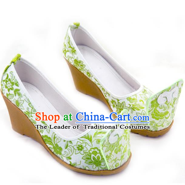 Traditional Chinese Ancient Wedding Cloth Shoes, China Princess Shoes Hanfu Handmade Embroidery Green Become Warped Head Shoe for Women