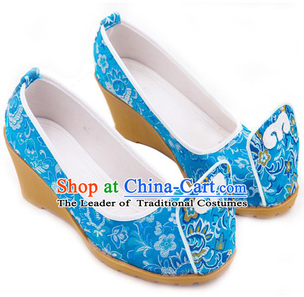 Traditional Chinese Ancient Wedding Cloth Shoes, China Princess Shoes Hanfu Handmade Embroidery Blue Become Warped Head Shoe for Women