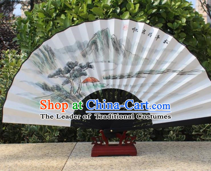 Traditional Chinese Crafts Peking Opera Folding Fan China Sensu Handmade Chinese Painting Pineburst Scenery Xuan Paper Fan for Women