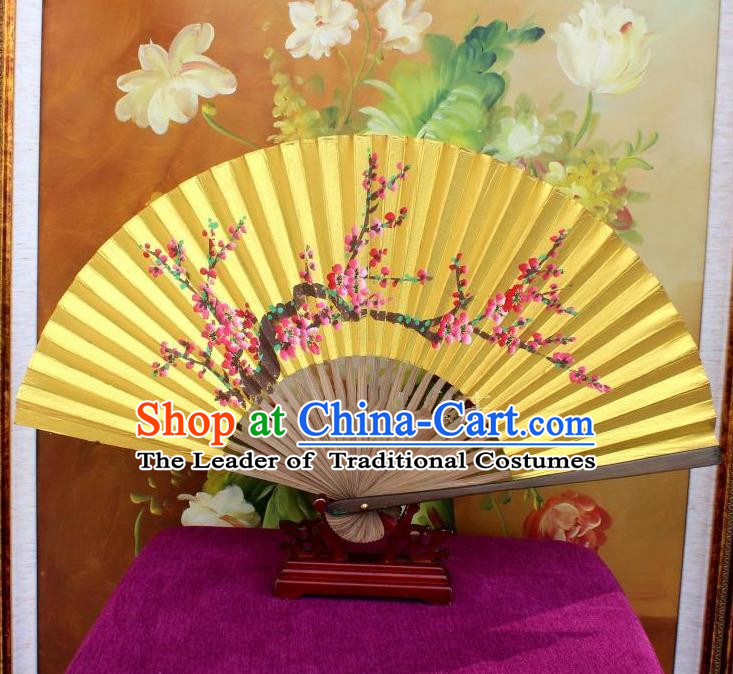 Traditional Chinese Crafts Peking Opera Folding Fan China Sensu Handmade Chinese Painting Plum Blossom Golden Paint Fan for Women