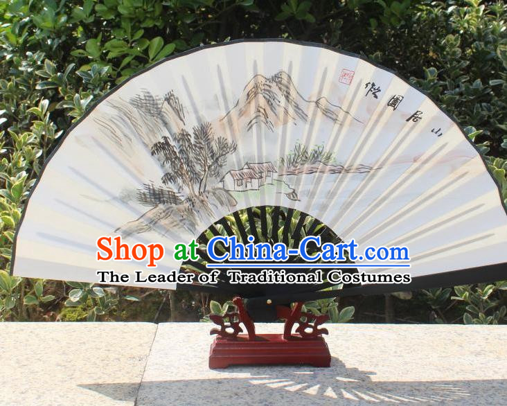 Traditional Chinese Crafts Peking Opera Folding Fan China Sensu Handmade Chinese Painting Mount Scenery Xuan Paper Fan for Women