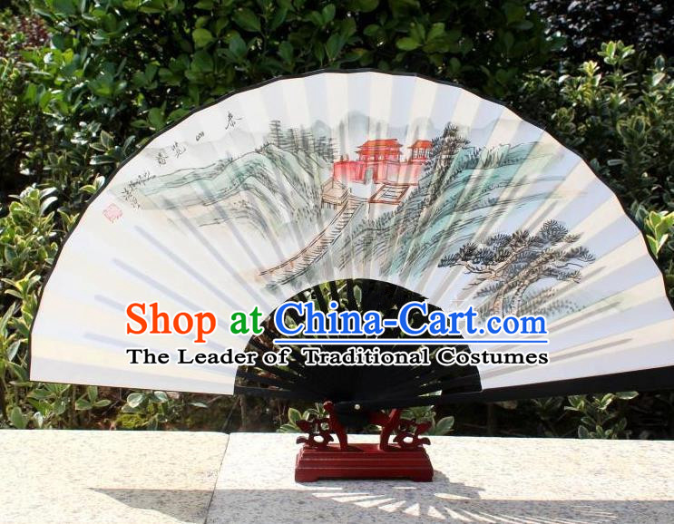 Traditional Chinese Crafts Peking Opera Folding Fan China Sensu Handmade Chinese Painting Spring Scenery Xuan Paper Fan for Women