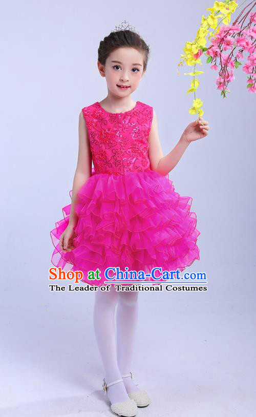 Top Grade Chinese Compere Professional Performance Catwalks Costume, Children Princess Bubble Rosy Full Dress Modern Dance Dress for Girls Kids