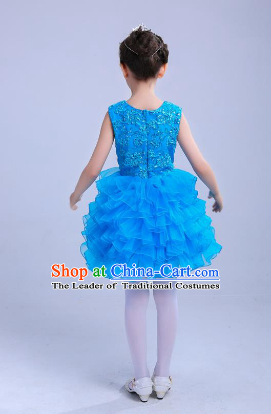 Top Grade Chinese Compere Professional Performance Catwalks Costume, Children Princess Bubble Blue Full Dress Modern Dance Dress for Girls Kids