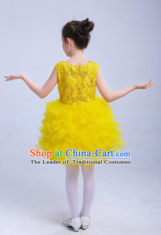 Top Grade Chinese Compere Professional Performance Catwalks Costume, Children Princess Bubble Yellow Full Dress Modern Dance Dress for Girls Kids