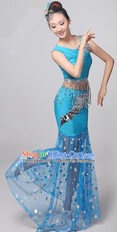 Traditional Chinese Dai Nationality Peacock Dance Costume, Folk Dance Ethnic Costume, Chinese Minority Nationality Dance Blue Dress for Women