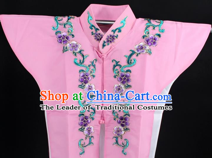 Traditional China Beijing Opera Young Lady Costume Pink Collar Protectors, Ancient Chinese Peking Opera Embroidery Clothing