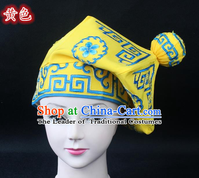 Traditional China Beijing Opera Takefu Hat, Ancient Chinese Peking Opera Martial Arts Men Headwear Embroidery Yellow Kerchief