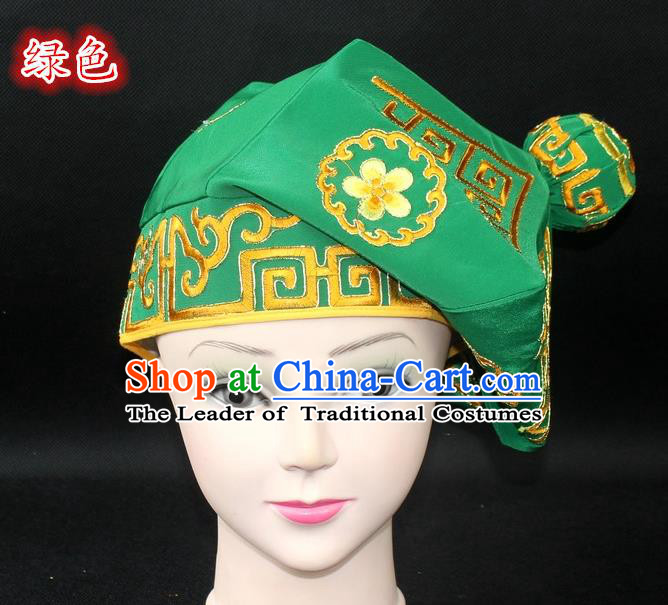 Traditional China Beijing Opera Takefu Hat, Ancient Chinese Peking Opera Martial Arts Men Headwear Embroidery Green Kerchief