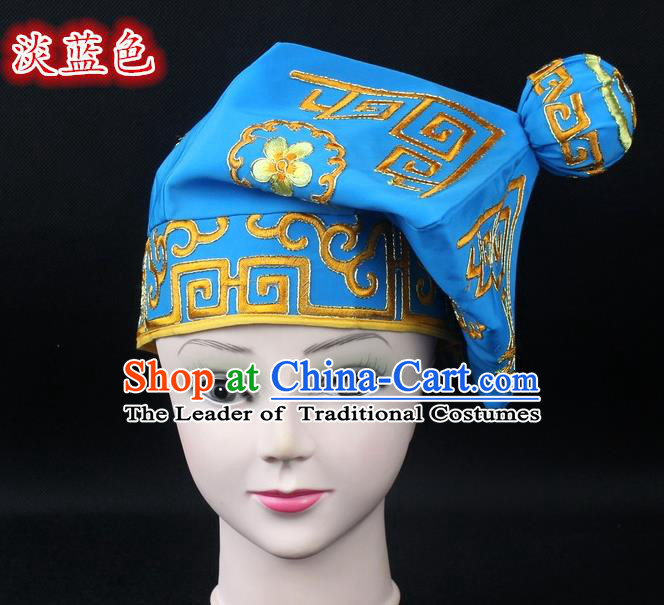 Traditional China Beijing Opera Takefu Hat, Ancient Chinese Peking Opera Martial Arts Men Headwear Embroidery Light Blue Kerchief