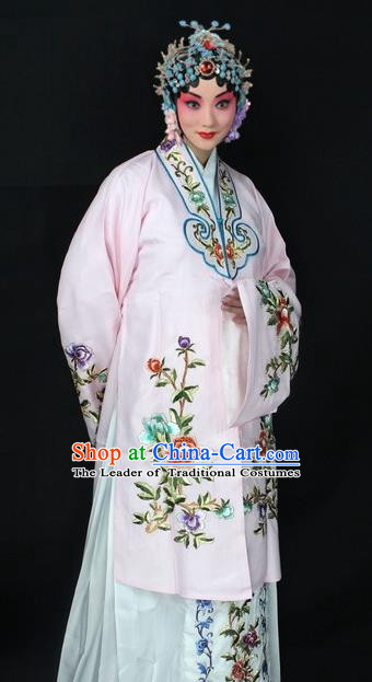 Traditional China Beijing Opera Young Lady Hua Tan Cloak Costume, Ancient Chinese Peking Opera Female Diva Embroidery Cape Dress Clothing